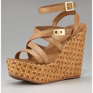 Tory Burch Dalcin Leather Strappy Wedges, Size 9